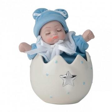 Bibelot Huevo c/bebé Azul Celeste - Estrella