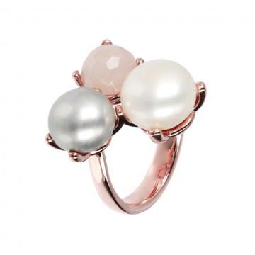 Anillo de Perlas y Cuarzo Rosa - Maxima