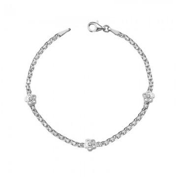 Pulsera de Oro Blanco Con Diamantes