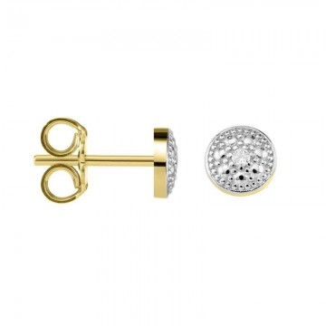 Pendientes Oro 18kts de Niña Bicolor con Diamantes