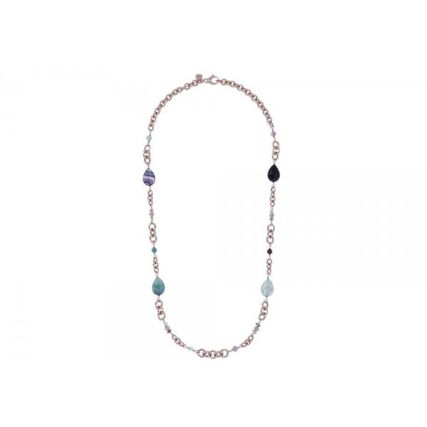 Collar Oval Rolo Variegata con piedras preciosas en forma de lágrima