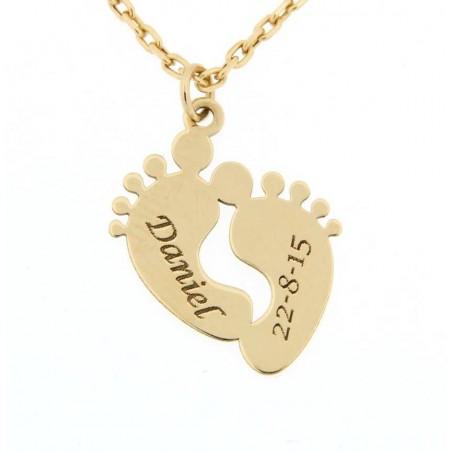 Colgante con Cadena - Pies bebé con nombre y fecha Oro 18kts
