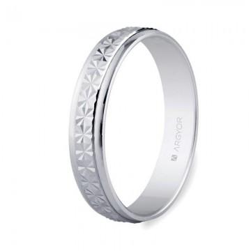Alianza oro blanco diamantada brillo 4mm