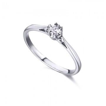 Sortija Oro Blanco 18Kts con Diamante 0.08Kts