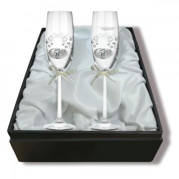 Copas de Cava de Cristal - 50 Aniversario Con Estuche
