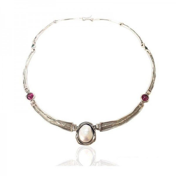 Collar plata Barroco con perla y Piedras
