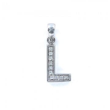 Colgante inicial L de plata con circonitas 12 mm