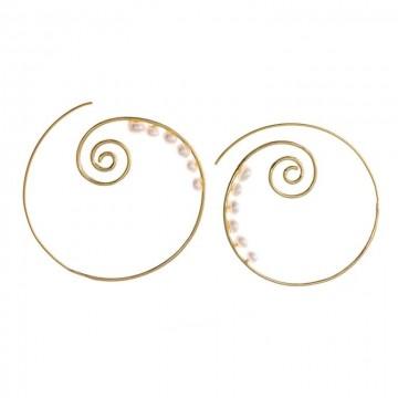 Pendientes Plata Chapado Dorado Espiral Perlitas