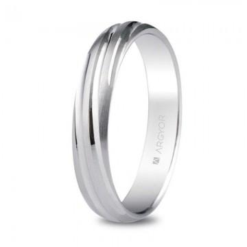 Alianza de plata torneada satinada-brillante 4mm