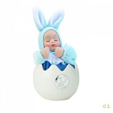 Bibelot Huevo con Bebé Celeste