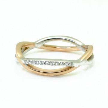Sotija Oro Bicolor con diamantes