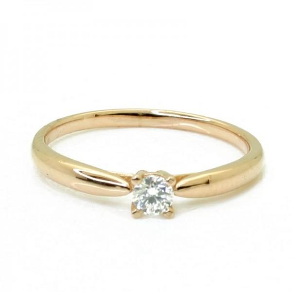 Solitario Oro Rosa con Diamante