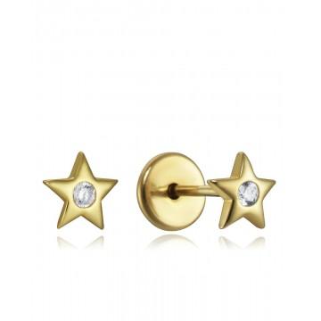 Pendientes Plata Estrella con circonita