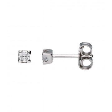 Pendientes Oro Blanco c/Diamantes 0,16 ct
