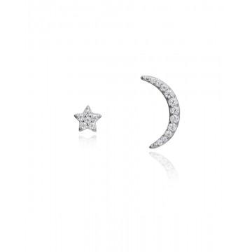 Pendientes de Plata Viceroy Asimétricos Luna y Estrella