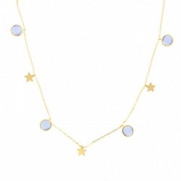 Gargantilla Oro Amarillo 18K Estrellas Piedra Azul