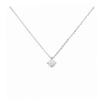 Colgante de Oro Blanco de 18K con Diamante y cadena