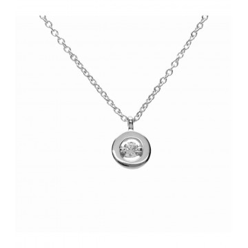 Colgante Oro Blanco 18K c/diamante en chatón y cadena
