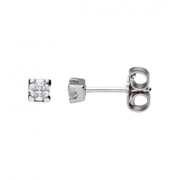 Pendientes Oro Blanco 18K Con Diamantes