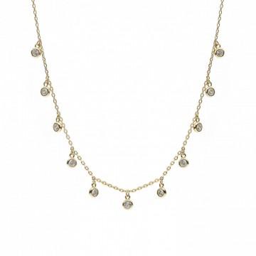 Collar de Plata Bañado en Oro con Colgantes y Circonitas