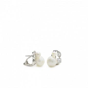 Pendientes de Novia de Plata con Perla