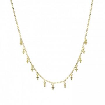 Collar de plata Bañado en Oro Diseño Cruces