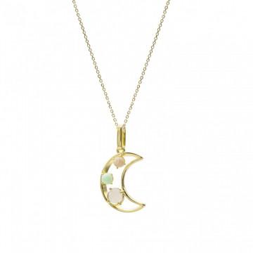Collar de Plata Bañados en Oro Luna con Piedra Natural