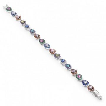 Pulsera de Plata Lineal Multicolor