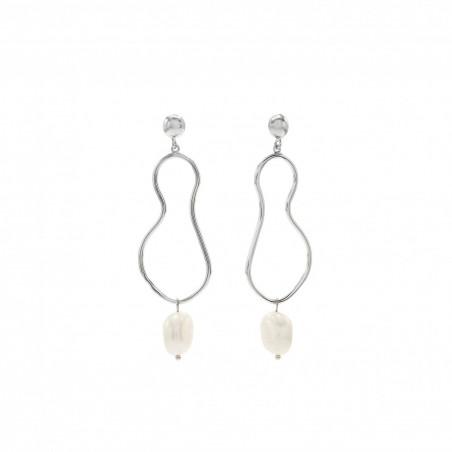 Pendientes de Plata Irregulares Curvilineaos con Perlas