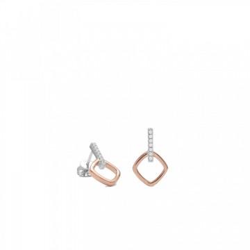 Pendientes de Plata Bañados en Oro Rosa Rombo