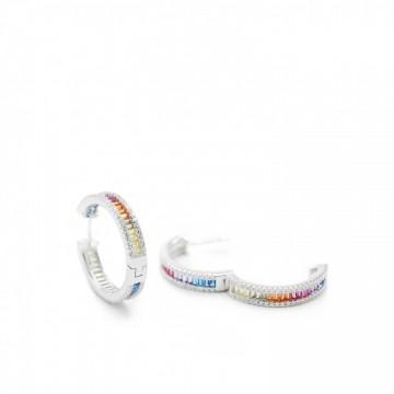Pendientes Aro de Plata Cuarzos Multicolores