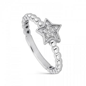Anillo de plata estrella con circonitas