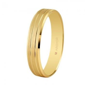 Alianza de boda oro satinada-brillo 4mm