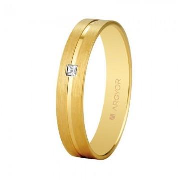 Alianza de oro Argyor y diamante de 4mm confort