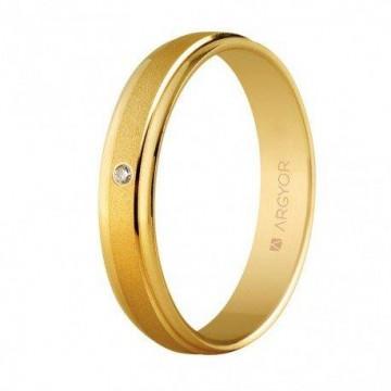 Alianza con diamante boda oro 4mm